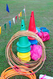 Kid playground items. Such hula hoops and cones stock photo