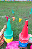 Kid playground items. Such hula hoops and cones stock images