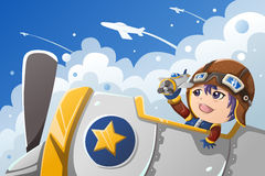 Kid playing with an airplane Royalty Free Stock Photos