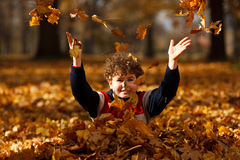 Kid playing in autumn park. Boy playing in autumn park Royalty Free Stock Photos