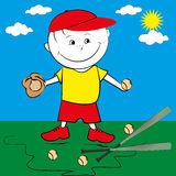 Kid playing baseball Stock Image