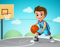 Kid playing basketball vector character. Young school boy wearing basketball uniform. In basketball court while doing his dribbling style. Vector illustration vector illustration