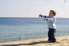 Kid playing on the beach. Little boy playing with sand on the beach Stock Photography