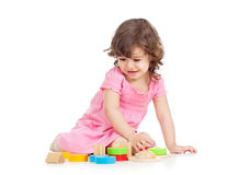 Kid playing with block toys Stock Photography