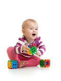 Kid playing blocks toy Royalty Free Stock Photography