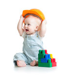 Kid playing with building blocks toy. Kid boy playing with building blocks toy royalty free stock images