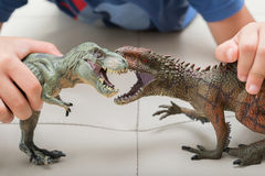 Kid playing with Carcharodontosaurus and tyrannosaurus toys fighting. Each other Stock Image