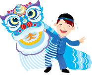 Kid playing the Chinese lion dance Stock Photo