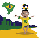Kid playing and control soccer ball. Brazil beach and city background. illustration Stock Illustration