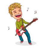 Kid playing electric guitar Royalty Free Stock Image