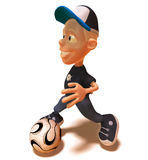 Kid playing football. Soccer, 3d generated Stock Image