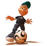 Kid playing football. Soccer, 3d generated Stock Photography