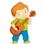 Kid playing Guitar. Vector illustration of kid playing guitar Royalty Free Stock Photo