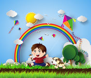 Kid playing with kite Royalty Free Stock Photos