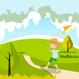 Kid playing with kite. In park. Vector illustration Stock Image