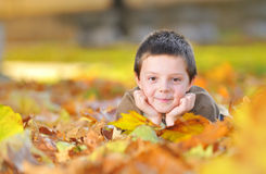 Kid playing with leaves Stock Images