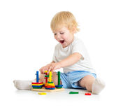 Kid playing logical education toys with interest Stock Photos