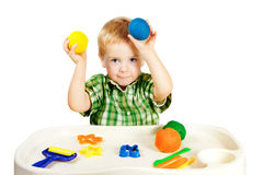 Kid Playing Molding Clay Toys, Little Child Colorful Plasticine Royalty Free Stock Photography