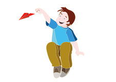 Kid playing with paper plane. Royalty Free Stock Photos