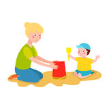 Kid playing sandbox vector illustration. Stock Photos