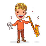 Kid playing the saxophone Stock Images