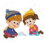 Kid playing snow with friends.vector and illustration. Stock Photography