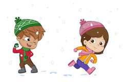 Kid playing snow with friends.vector and illustration. Royalty Free Stock Photography