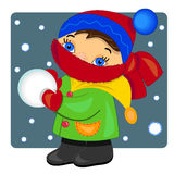 Kid playing with snow. illustration. Royalty Free Stock Images