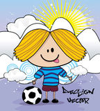Kid playing soccer cartoon Royalty Free Stock Images