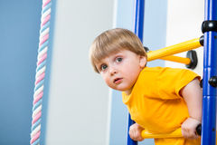 Kid playing on sports equipment Royalty Free Stock Photography