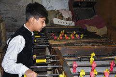 Kid playing Table Foosball royalty free stock photography