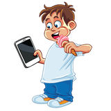 Kid Playing Tablet Phone. Gadget Cartoon Vector Stock Photography