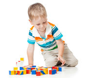 Kid playing toy blocks  isolated Royalty Free Stock Image