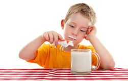 Kid playing with toy cow behind glass of milk Royalty Free Stock Photography