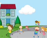Kid playing in the village. Illustration stock illustration