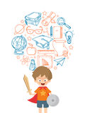Kid Playing Warrior With Education Icon.  Royalty Free Stock Images