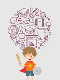 Kid Playing Warrior With Education Icon.  Stock Photo