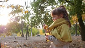 Kid plays in autumn park, female child blowing soap bubbles on background trees. And sun stock video footage