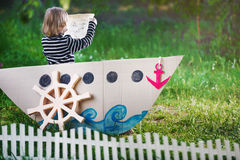 Kid plays pirate Royalty Free Stock Photo