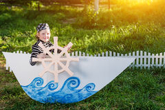 Kid plays pirate Royalty Free Stock Photos