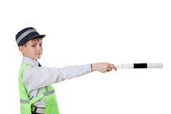 The kid plays policeman Stock Photo