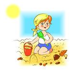 Kid plays in the sand Royalty Free Stock Images