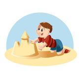 Kid plays in the sand Stock Images