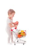 Kid plays in shop Stock Photography