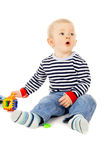 Kid plays with toys Stock Image