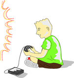 Kid Plays Videogame. Kid wearing a green tee and brown shorts plays video game in front of TV Stock Photo