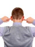 Kid plug his Ears Stock Photo