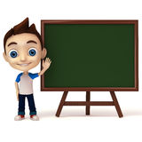 Kid pointing to green board Royalty Free Stock Photo