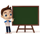 Kid pointing to green board Royalty Free Stock Images
