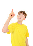 Kid pointing up Stock Photo